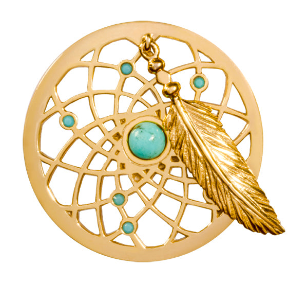 Turquoise Dreamcatcher Gold Plate 33mm Coin