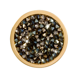 Nikki Lissoni - Black & Topaz Rock Crystal Gold Plate 23mm Coin