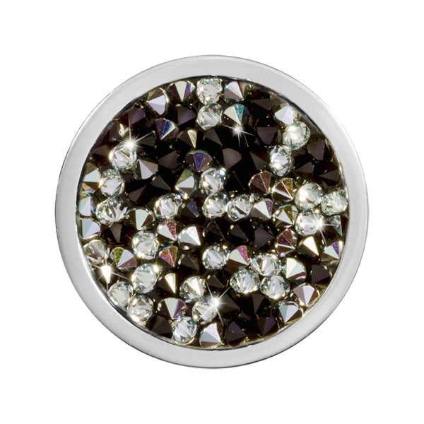 Black & White Rock Crystal Silver Plated 23mm Coin