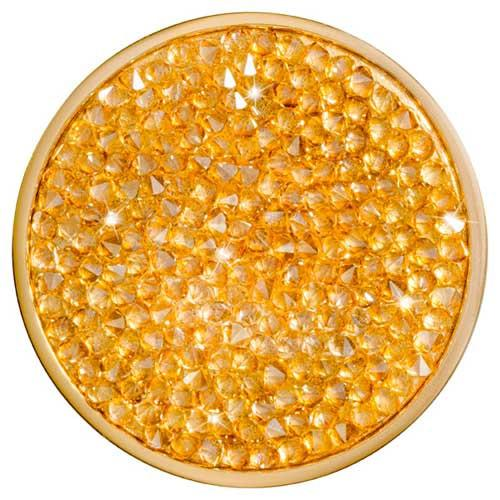 Yellow Rock Crystal Gold Plate 43mm Coin