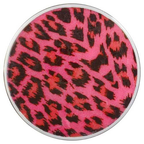 Deep Pink Leopard Print Silver Plated 43mm Coin