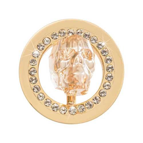 Day Of The Dead - Peach Sparkling Skull Gold Plate 23mm Coin