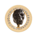 Day Of The Dead - Black Sparkling Skull Gold Plated 23mm Coin