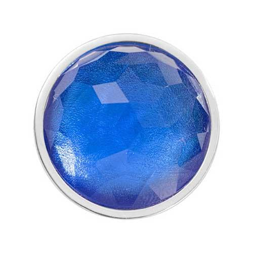 Sky Blue Optical Glass Silver Plate 23mm Coin