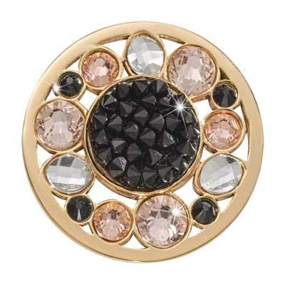 Sunflower Rock Crystal Gold Plated 33mm Coin