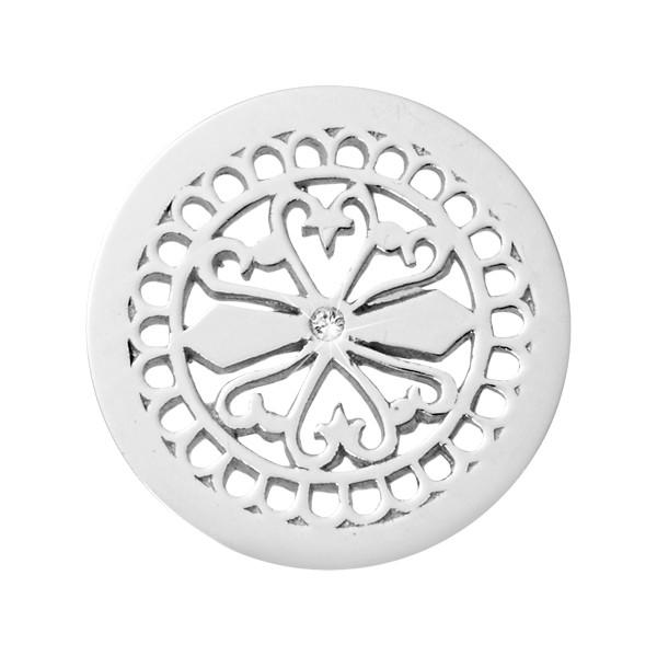 Fancy Ornament Silver Plated 23mm Coin