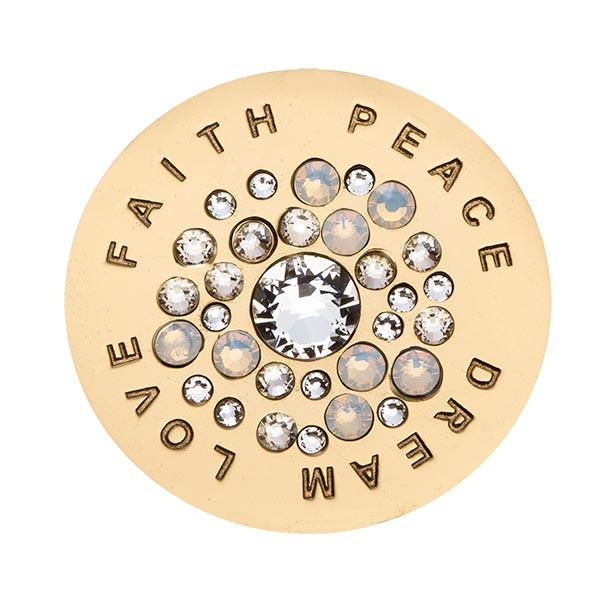Nikki Lissoni - Love Faith Peace Dream White Swarovski Gold Plate 33mm Coin