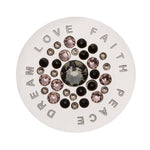 Nikki Lissoni - Love Faith Peace Dream Grey Swarovski Silver Plate 33mm Coin