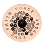 Love Faith Peace Dream Black Swarovski Rose Gold Plated 33mm Coin