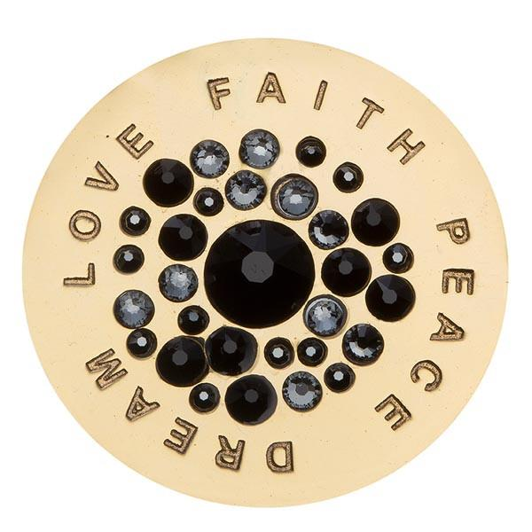 Love Faith Peace Dream Black Swarovski Gold Plated 33mm Coin