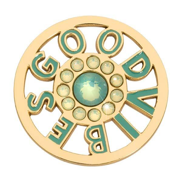 Good Vibes Green Gold Plated 33mm Coin