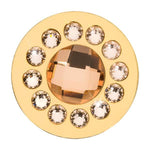 Chic Peach Glass Gold Plated 33mm Coin