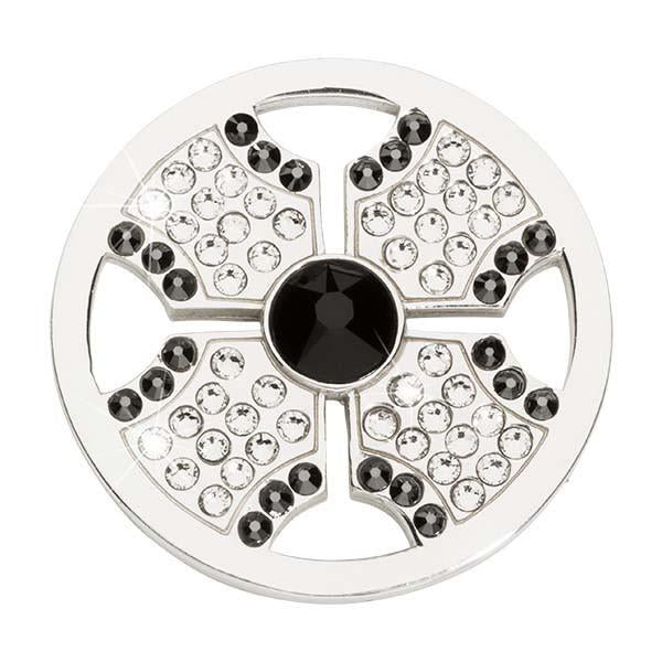 Black&White Cross Silver Plated 33mm Coin
