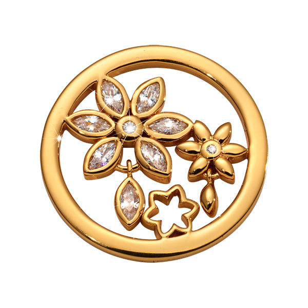 Bouquet Wildflower Gold Plated 23mm Coin