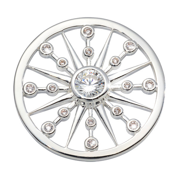 Bursting Star Silver Plated 33mm Coin