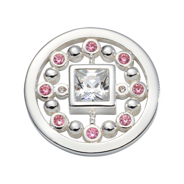 Nikki Lissoni - Pink Mirror Silver Plated 23mm Coin