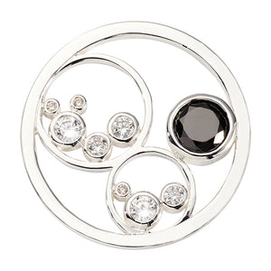 Nikki Lissoni Minimal Black Silver Plated 33mm Coin
