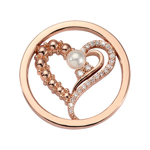 Nikki Lissoni Pearled Heart Rose Gold Plated 23mm Coin