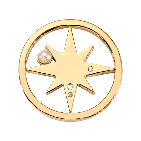 Falling Pearl Star Gold Plated 23mm Coin