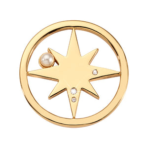 Nikki Lissoni Falling Pearl Star Gold Plated 23mm Coin