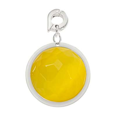 Nikki Lissoni Yellow Glass Silver Plated 22mm Charm