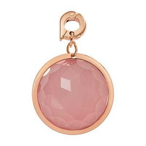 Pink Glass Rose Gold Plate 22mm Charm