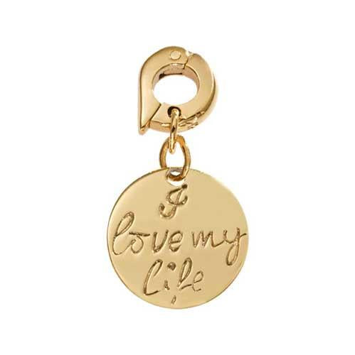 I Love My Life Gold Plate 15mm Charm