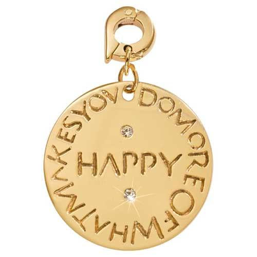 What Makes You Happy Gold Plate 25mm Charm