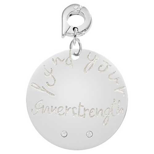 Find Your Strength Silver Plate 25mm Charm