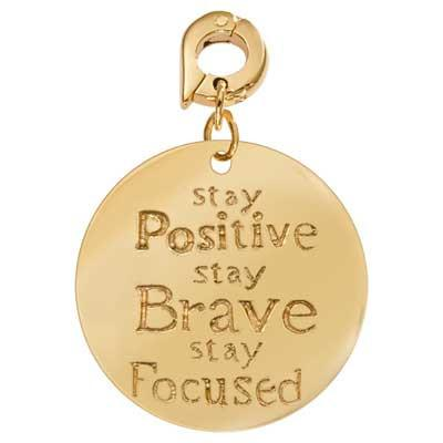 Positive Brave Strong Gold Plate 25mm Charm