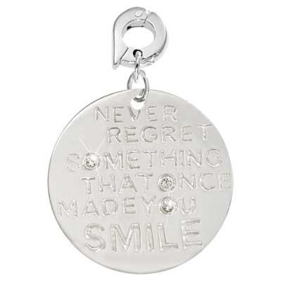 Never Regret Silver Plated 25mm Charm