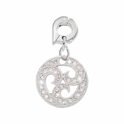 Sparkling Curls Silver Plated 15mm Charm