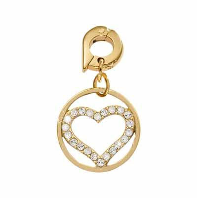 Sparkling Heart Gold Plate 15mm Charm