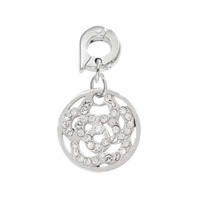 Sparkling Flower Silver Plated 15mm Charm