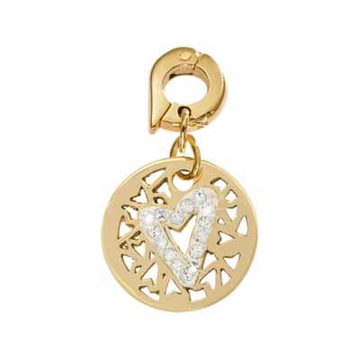Surrounded By Hearts Gold Plated 15mm Charm