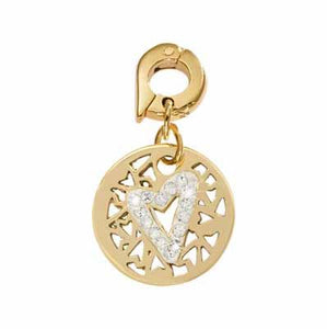 Surrounded By Hearts Gold Plate 15mm Charm