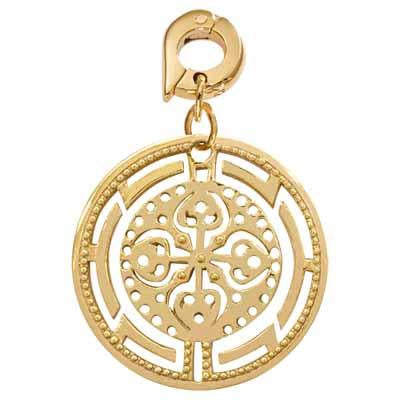 Ancient Cross Gold Plate 25mm Charm