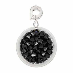 Black Rock Crystal Silver Plate 20mm Charm