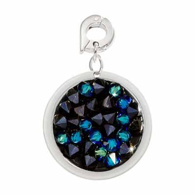 Blue Rock Crystal Silver Plate 20mm Charm
