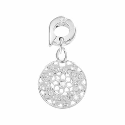 Vintage Flower Silver Plated 15mm Charm
