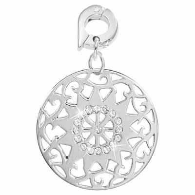 Sixteen Diamante Silver Plated 25mm Charm