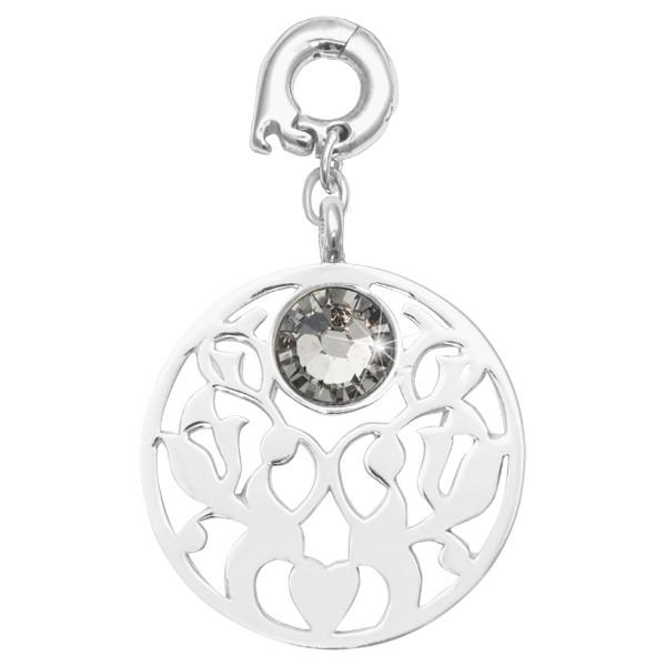Vintage Flower Silver Plated 25mm Charm
