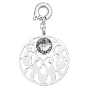 Vintage Flower Silver Plate 25mm Charm