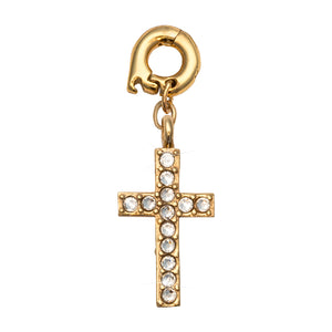 Nikki Lissoni Sparkling Cross Gold Plated 20mm Charm