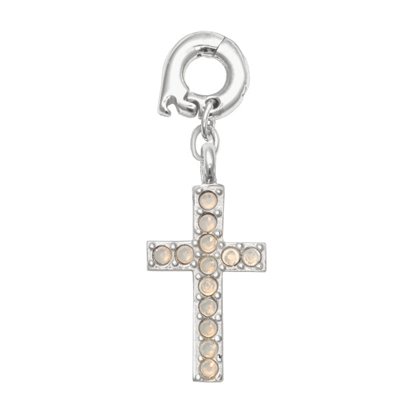 Nikki Lissoni Sparkling Cross Silver Plated 20mm Charm