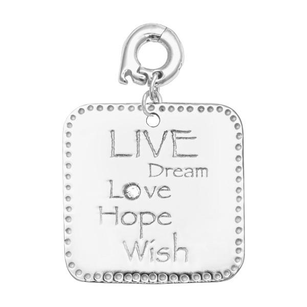 Live Dream Love Silver Plated 25mm Charm