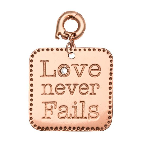 Love Never Fails Rose Gold Plate 25mm Charm