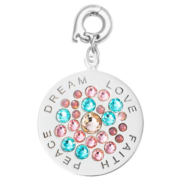Love Faith Peace Silver Plate 25mm Charm