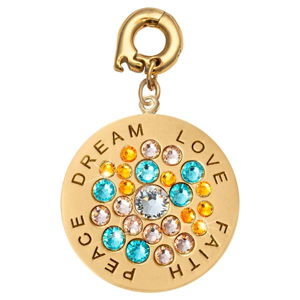Love Faith Peace Gold Plate 25mm Charm
