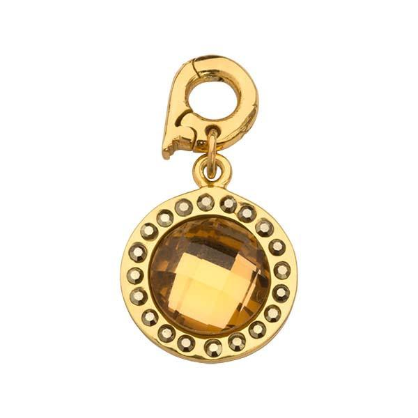Chic Bronze Glass Gold Plate 15mm Charm